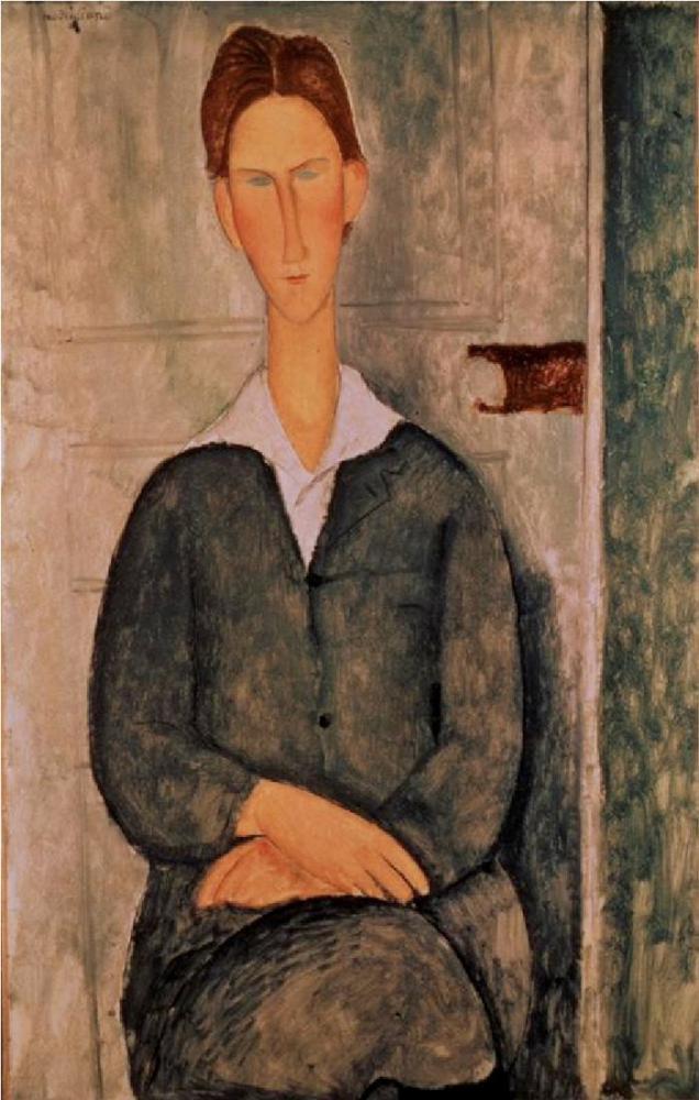 Amedeo Modigliani, Kızıl Saçlı Genç Adam, Kanvas Tablo, Amedeo Modigliani