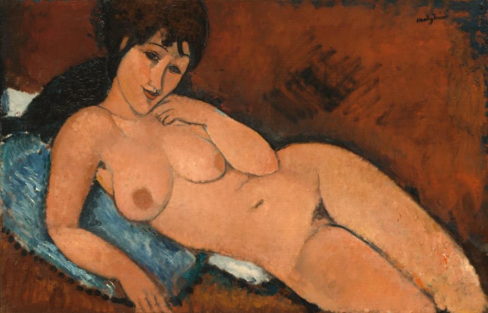 Amedeo Modigliani, Bir Mavi Yastık Üzerinde Çıplak, Kanvas Tablo, Amedeo Modigliani