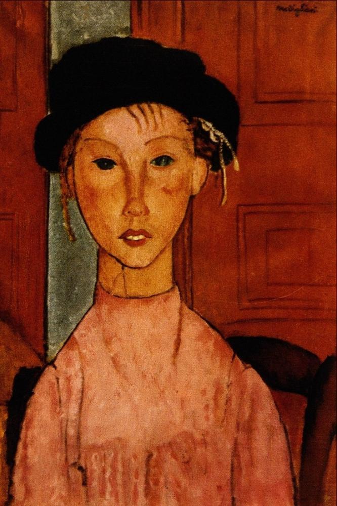 Amedeo Modigliani, Pembe Bir Apron'da Genç Kız, Kanvas Tablo, Amedeo Modigliani