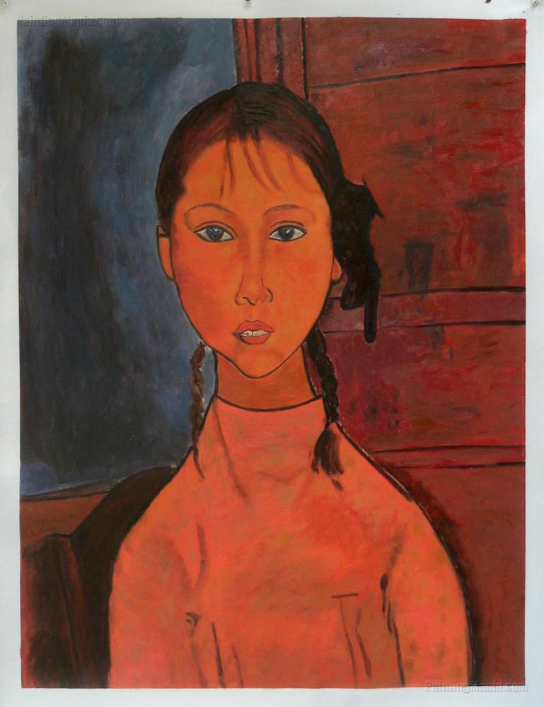 Amedeo Modigliani, Kız Örgüleri, Kanvas Tablo, Amedeo Modigliani
