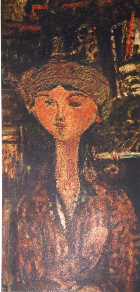 Amedeo Modigliani, Şapka ile Beatrice Hastings, Kanvas Tablo, Amedeo Modigliani