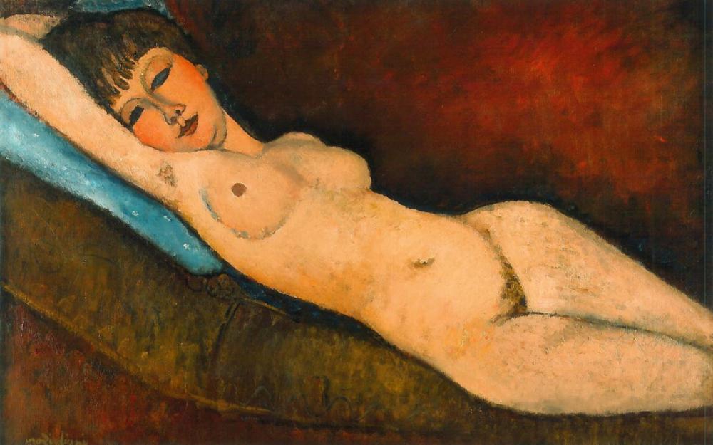 Amedeo Modigliani, Mavi Yastık Üzerinde Yatan Çıplak, Kanvas Tablo, Amedeo Modigliani