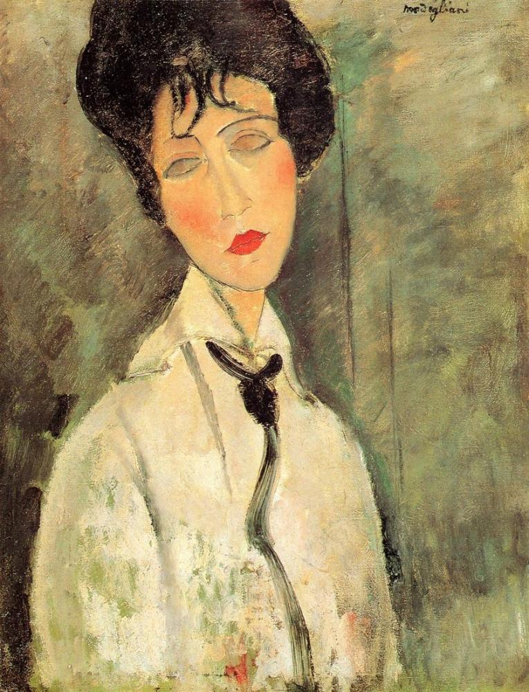 Amedeo Modigliani, Siyah Kravatlı Bir Kadın Portresi, Kanvas Tablo, Amedeo Modigliani