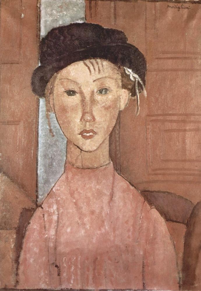 Amedeo Modigliani, Şapkalı Kız, Kanvas Tablo, Amedeo Modigliani