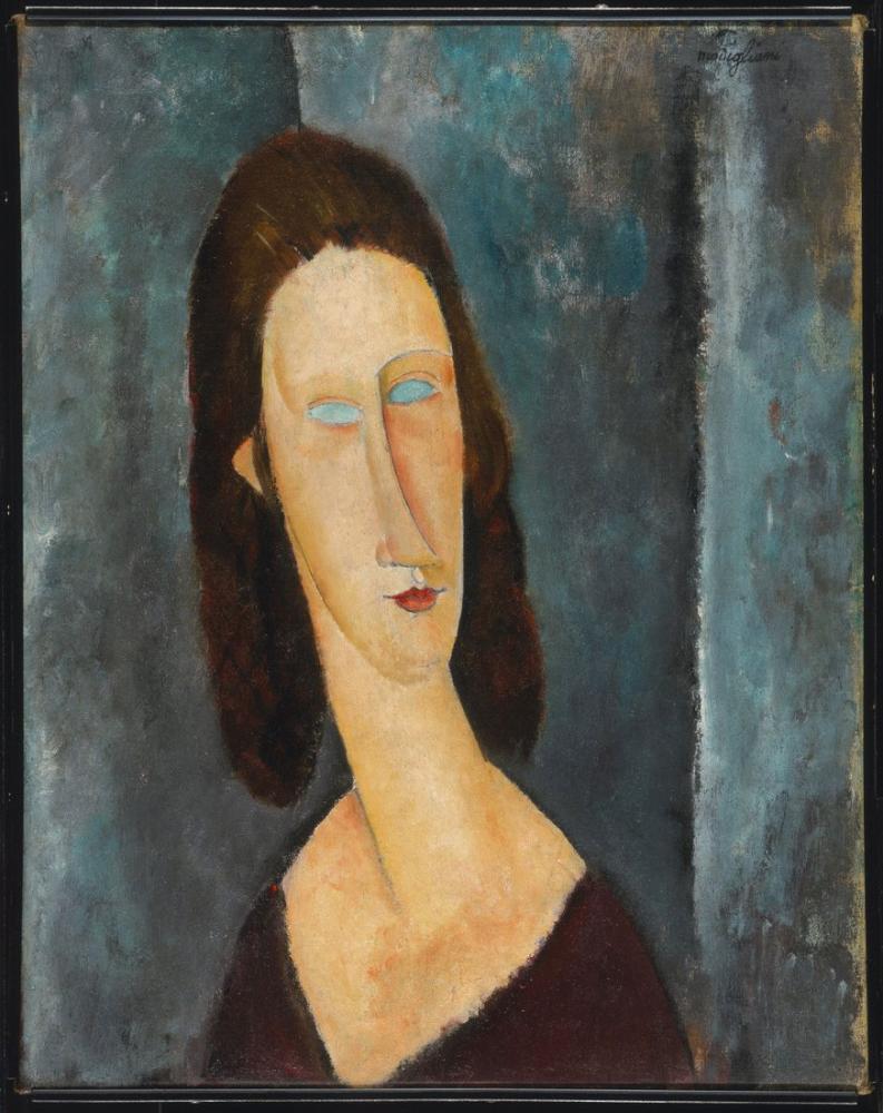Amedeo Modigliani, Madam Jeanne Hébuterne Mavi Gözler Portresi, Kanvas Tablo, Amedeo Modigliani