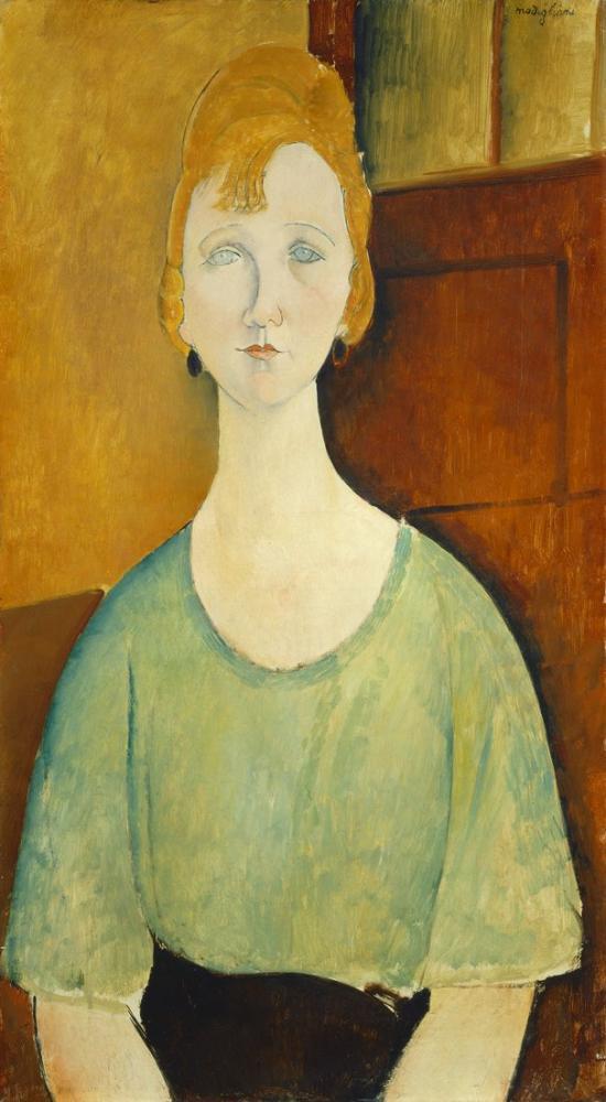 Amedeo Modigliani, Yeşil Bluzlu Kız, Kanvas Tablo, Amedeo Modigliani