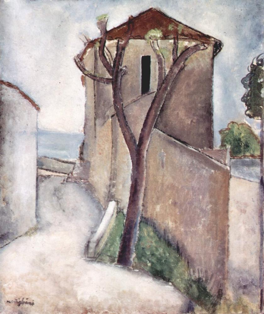 Amedeo Modigliani, Ağaç ve Ev, Kanvas Tablo, Amedeo Modigliani