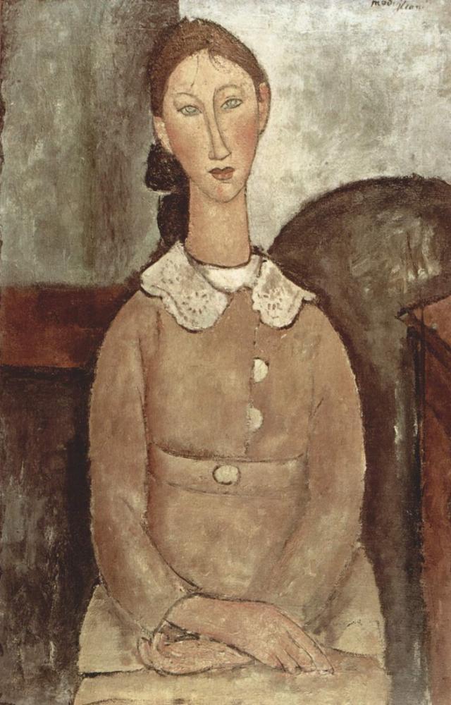 Amedeo Modigliani, Sarı Elbiseli Kız, Kanvas Tablo, Amedeo Modigliani