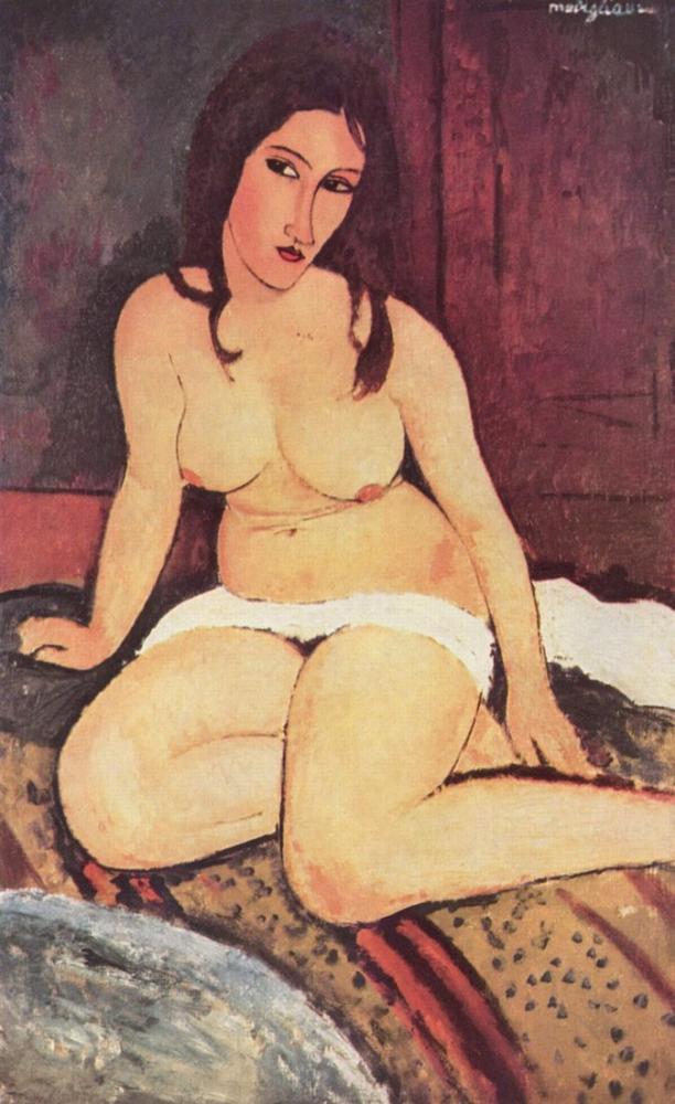 Amedeo Modigliani, Çıplak Oturmuş, Kanvas Tablo, Amedeo Modigliani