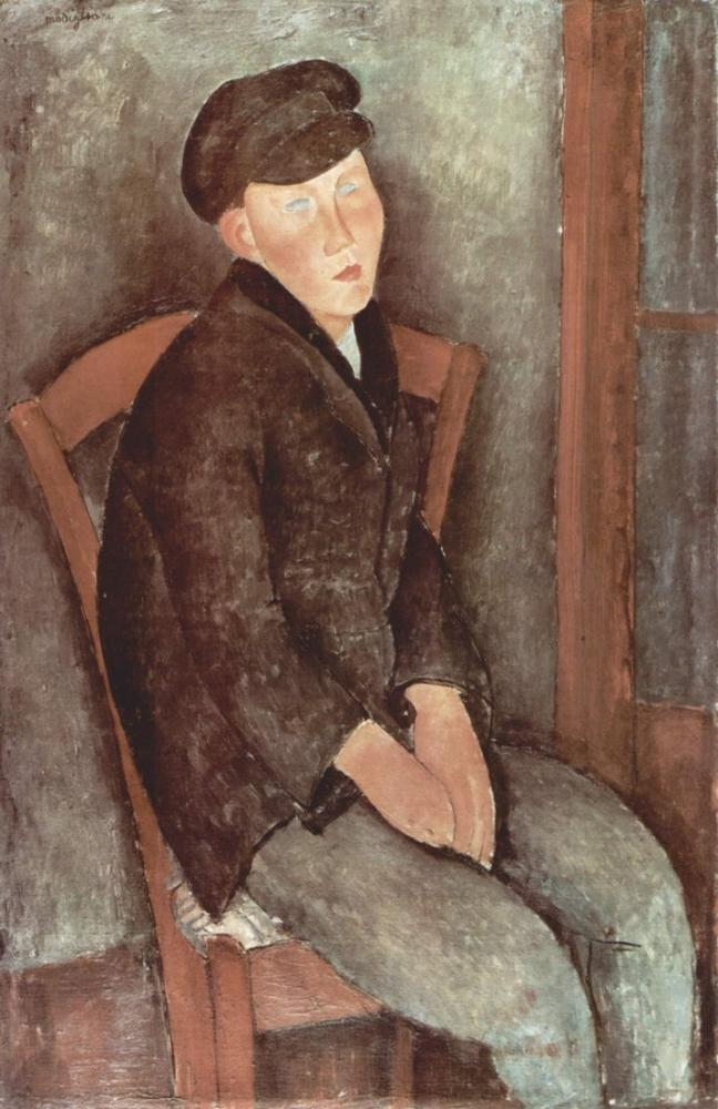 Amedeo Modigliani, Oturan Genç Adam, Kanvas Tablo, Amedeo Modigliani