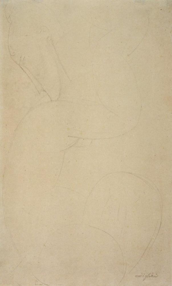 Amedeo Modigliani, Caryatid Grafit Çizimi, Kanvas Tablo, Amedeo Modigliani