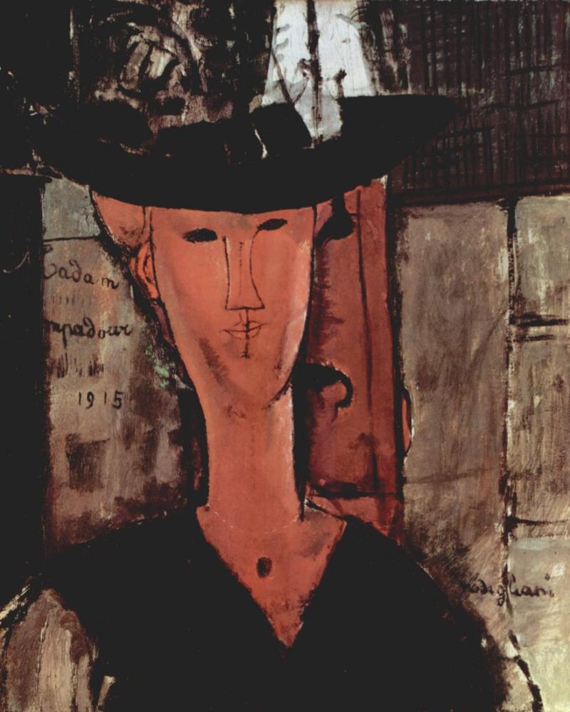 Amedeo Modigliani, Madam Pompadour, Kanvas Tablo, Amedeo Modigliani