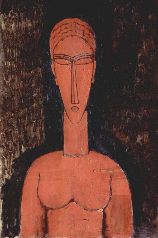 Amedeo Modigliani, Kırmızı Büst, Kanvas Tablo, Amedeo Modigliani