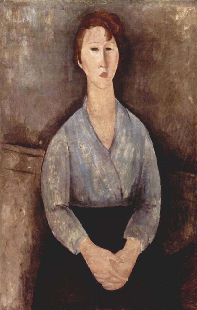 Amedeo Modigliani, Oturan Kadın Mavi Bluz Giyiyor, Kanvas Tablo, Amedeo Modigliani