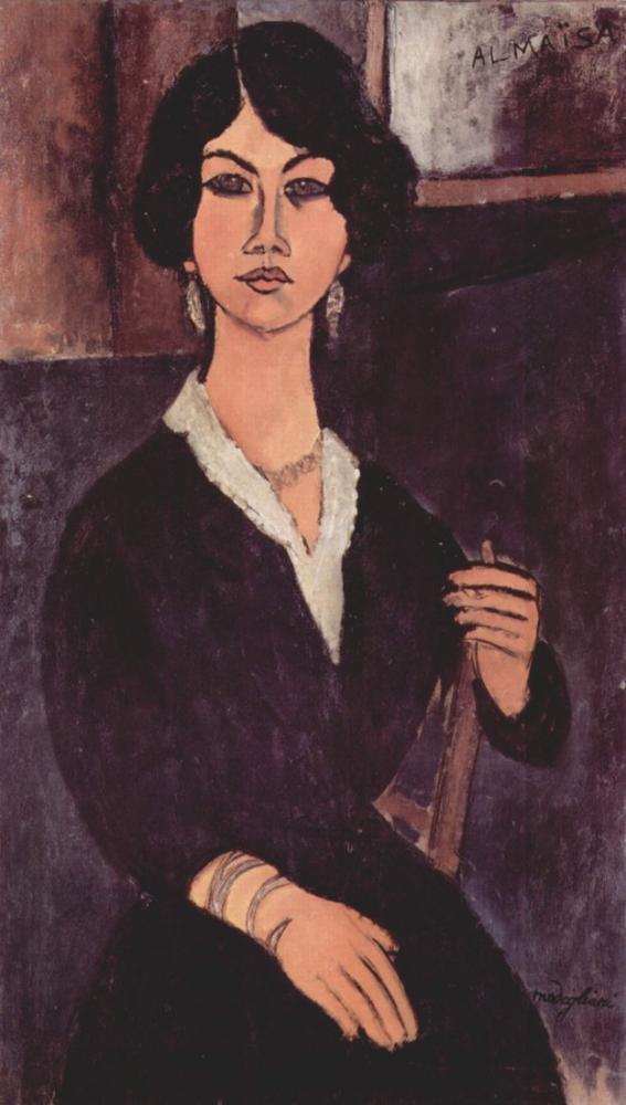 Amedeo Modigliani, Oturan Bir Kadın Portresi, Kanvas Tablo, Amedeo Modigliani