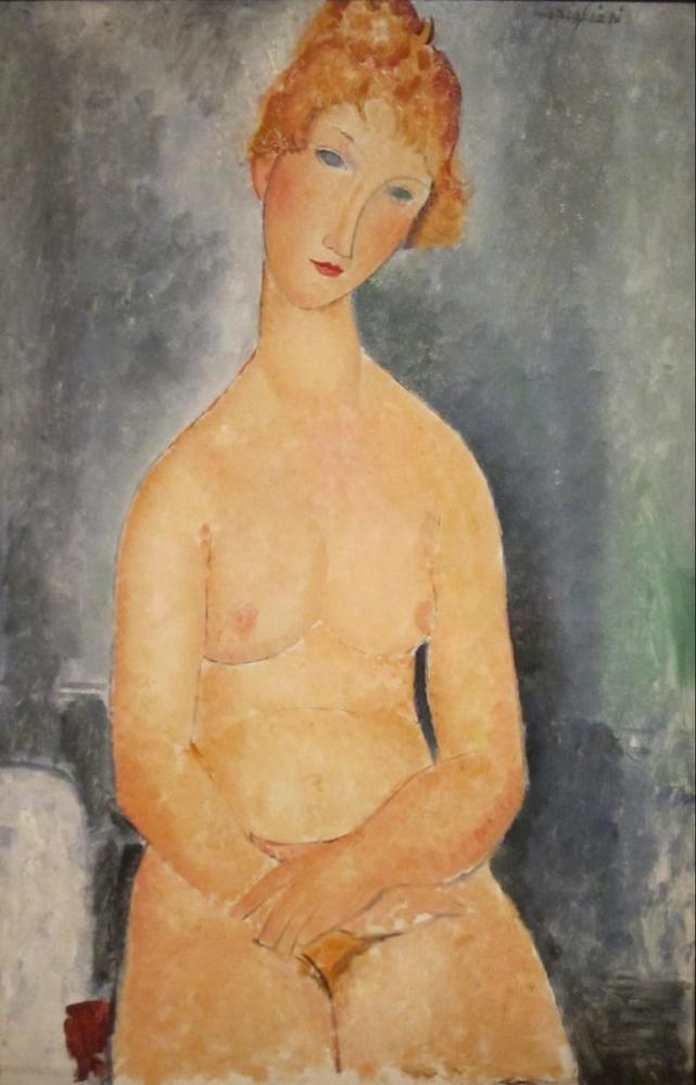 Amedeo Modigliani, Oturmuş Çıplak, Kanvas Tablo, Amedeo Modigliani
