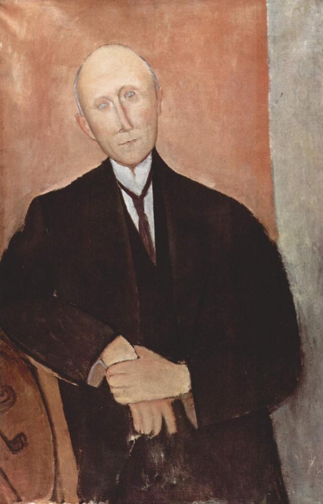 Amedeo Modigliani, Turuncu Arka Plan ile Oturan Adam, Kanvas Tablo, Amedeo Modigliani