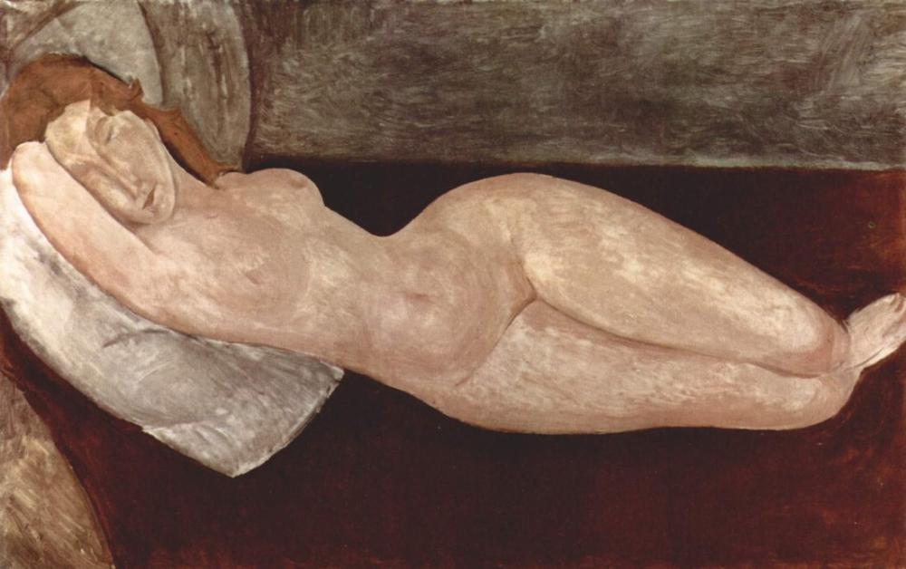 Amedeo Modigliani, Baş Sağ Kolda Dinlenirken Çıplak Yatıyor, Kanvas Tablo, Amedeo Modigliani