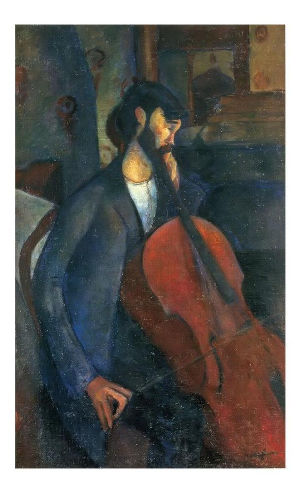 Amedeo Modigliani, Çellist, Kanvas Tablo, Amedeo Modigliani
