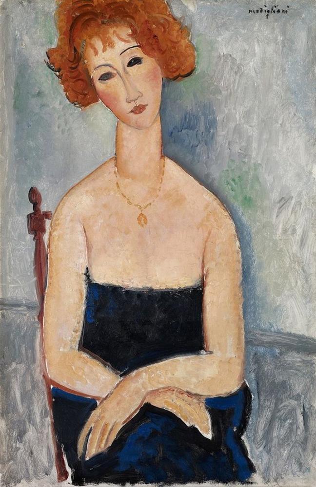 Amedeo Modigliani, Kolye ile Kızıl, Kanvas Tablo, Amedeo Modigliani