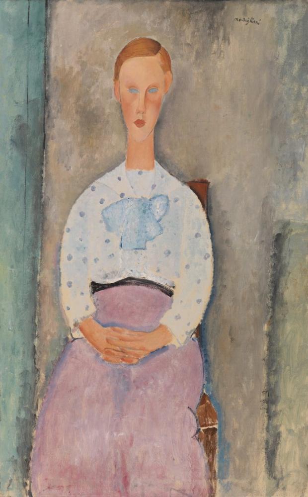 Amedeo Modigliani, Puantiyeli Bluz Jeune ile Kız, Kanvas Tablo, Amedeo Modigliani