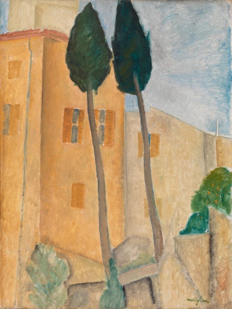 Amedeo Modigliani, Cagnes'te Selvi ve Evler, Kanvas Tablo, Amedeo Modigliani