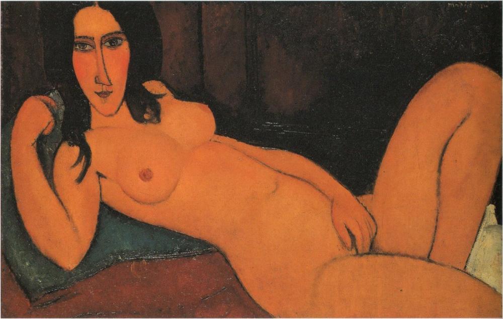 Amedeo Modigliani, Uzanmış Çıplak ile Aşağı Çekilmiş Saç, Kanvas Tablo, Amedeo Modigliani