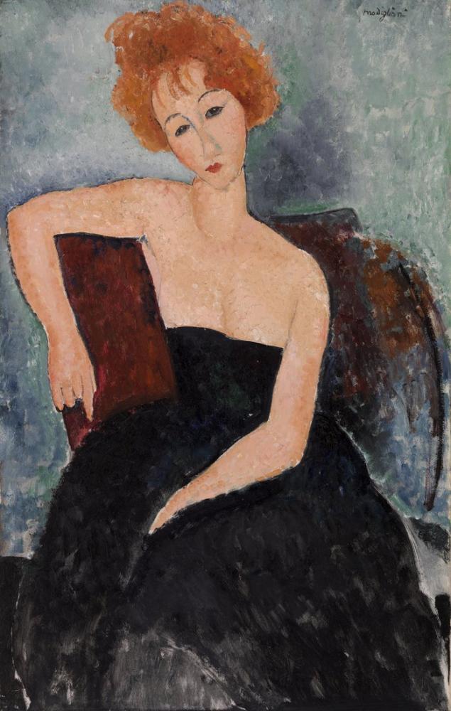 Amedeo Modigliani, Abiye Jeune Kızıl Saçlı Kız, Kanvas Tablo, Amedeo Modigliani