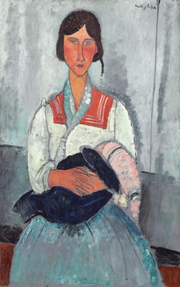 Amedeo Modigliani, Çingene Kadın ile Bebek, Kanvas Tablo, Amedeo Modigliani