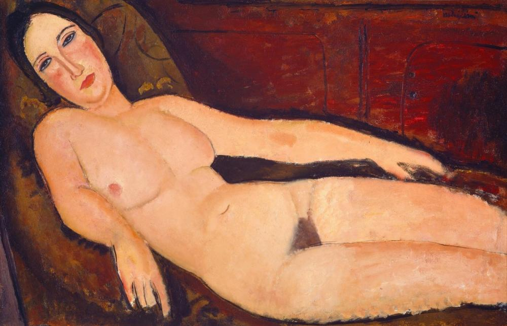 Amedeo Modigliani, Bir Divan Üzerinde Çıplak, Kanvas Tablo, Amedeo Modigliani