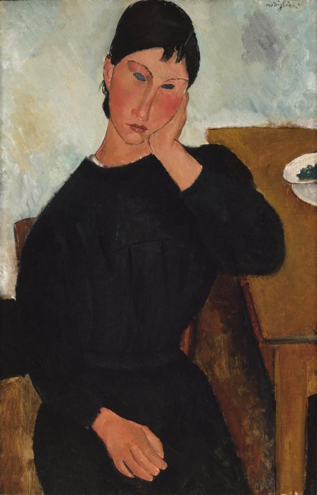 Amedeo Modigliani, Elvira Bir Masada Dinleniyor, Kanvas Tablo, Amedeo Modigliani