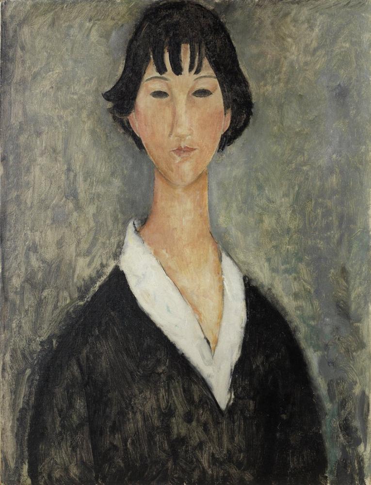 Amedeo Modigliani, Siyah Saçlı Genç Kız, Kanvas Tablo, Amedeo Modigliani