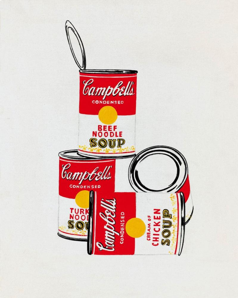 Andy Warhol Four Campbells Soup Cans, Canvas, Andy Warhol, kanvas tablo, canvas print sales