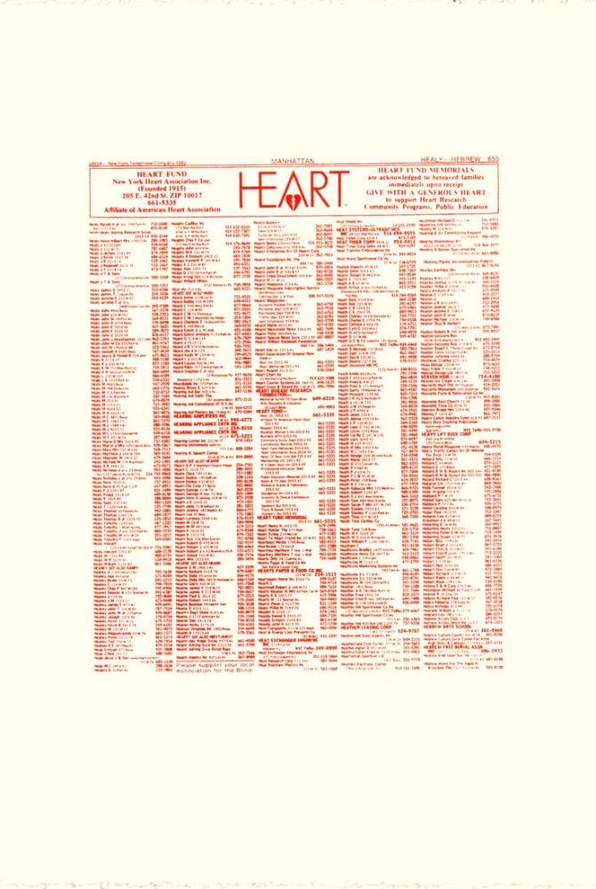 Andy Warhol New York Heart Association Phonebook Ad, Canvas, Andy Warhol