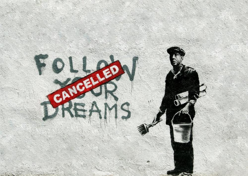 Banksy, Follow Your Dreams Cancelled, Canvas, Banksy, kanvas tablo, canvas print sales