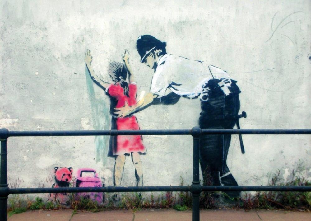 Banksy, Çocuğu Sorgulayan Polis, Kanvas Tablo, Banksy