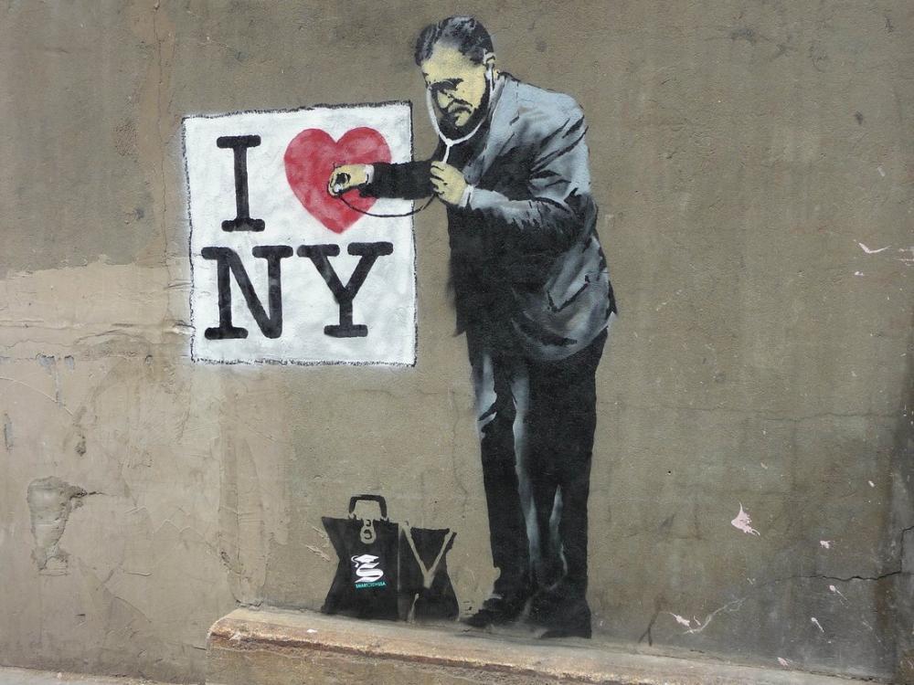Banksy, I Heart NY, Kanvas Tablo, Banksy