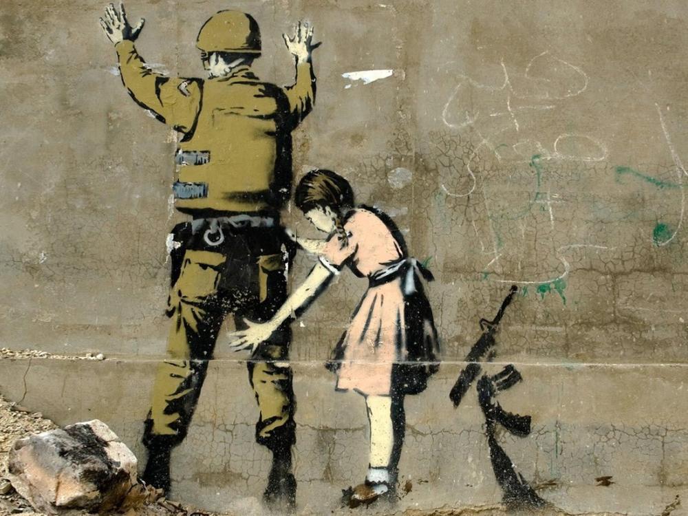 Banksy, Çocuk Bir Askeri Sorguluyor, Beytüllahim, Kanvas Tablo, Banksy