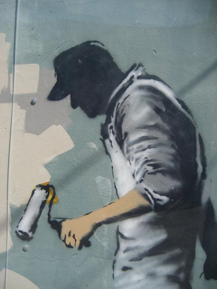 Banksy, Köşe Gri Hayalet, Kanvas Tablo, Banksy