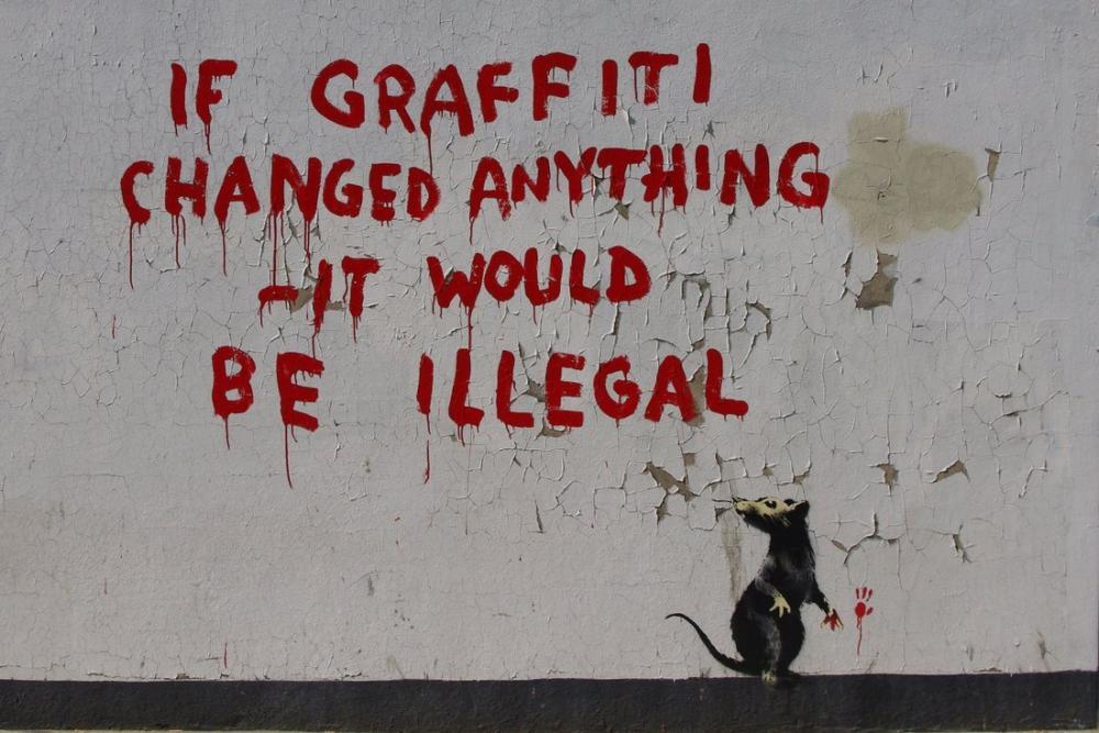 Banksy, Graffiti Birşeyi Değiştirirse Yasadışı Olur, Kanvas Tablo, Banksy