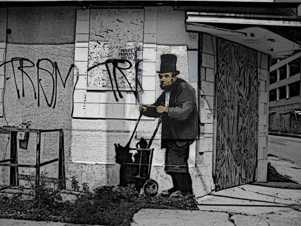 Banksy, Evsiz Lincoln, Kanvas Tablo, Banksy