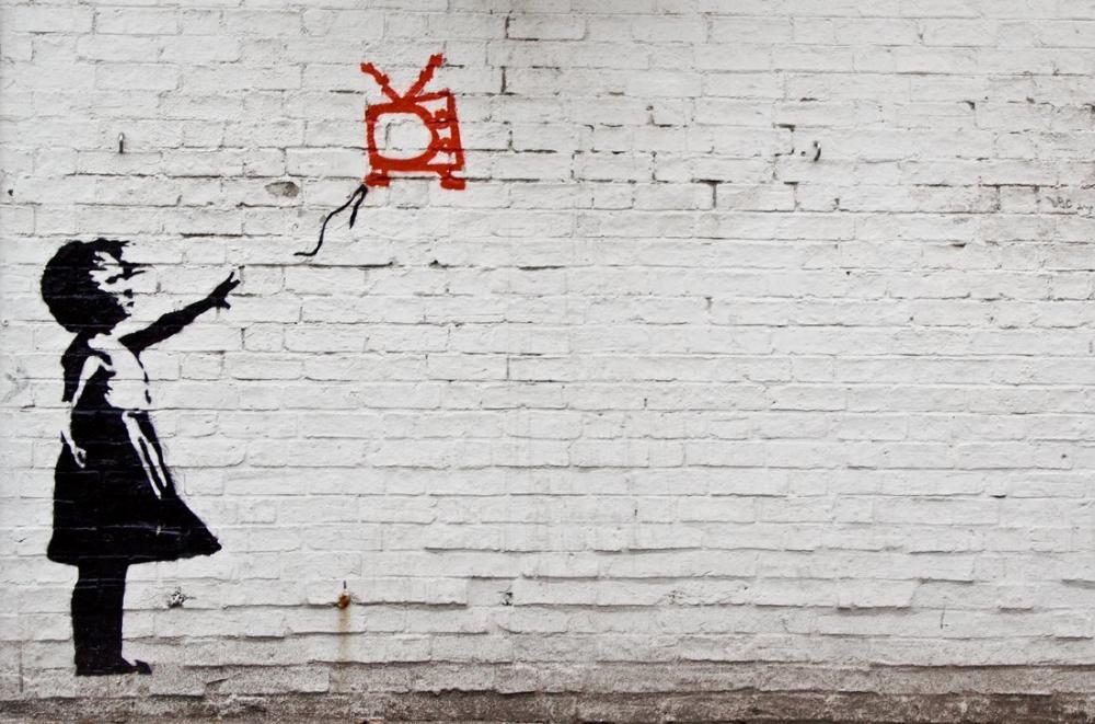 Banksy, Child Flying Tv, Canvas, Banksy, kanvas tablo, canvas print sales