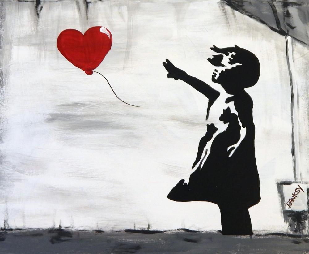 Banksy, Girl With Balloon, Canvas, Banksy, kanvas tablo, canvas print sales