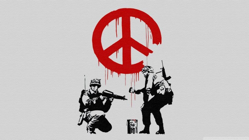 Banksy, Barış İşareti, Kanvas Tablo, Banksy