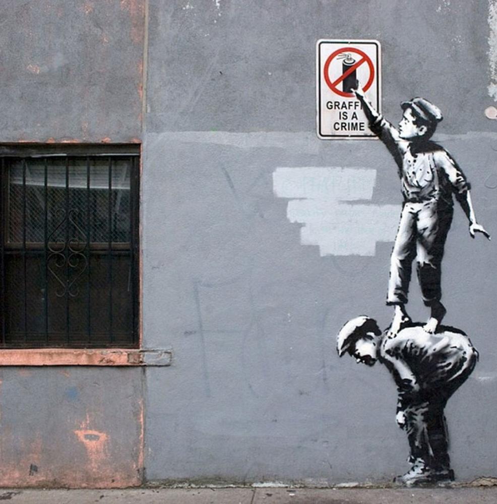 Banksy, Graffiti Bir Suçtur, Kanvas Tablo, Banksy