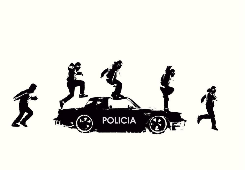 Banksy Jumping On Police Car, Canvas, Banksy, kanvas tablo, canvas print sales