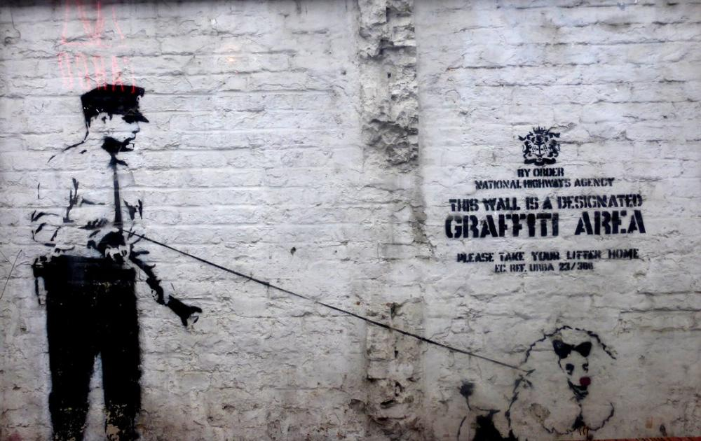 Banksy, Köpek ile Polis, Kanvas Tablo, Banksy