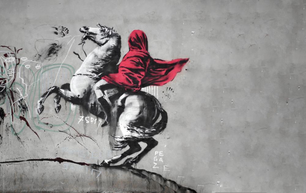 Banksy, At Üsünde Kırmızı Örtülü Birisi, Kanvas Tablo, Banksy