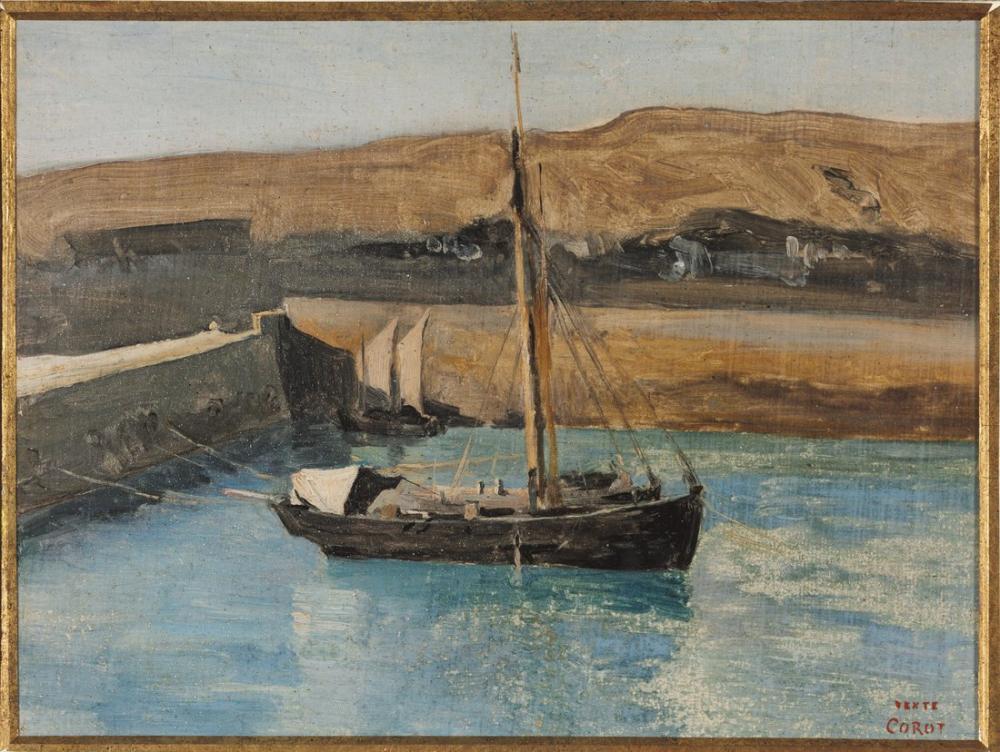 Camille Corot A Fishing Boat Honfleur, Canvas, Camille Corot, kanvas tablo, canvas print sales