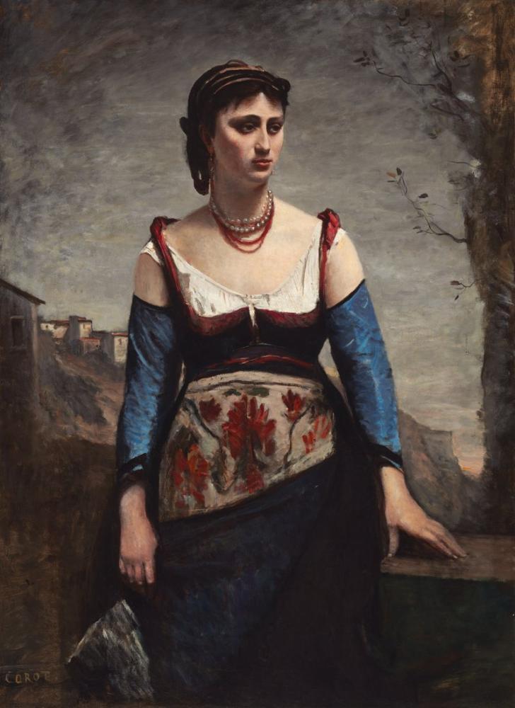 Camille Corot Agostina, Kanvas Tablo, Camille Corot